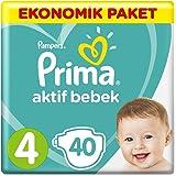 Prima Bebek Bezi Aktif Bebek 4 Beden Maxi Ekonomik Paket, 40 Adet