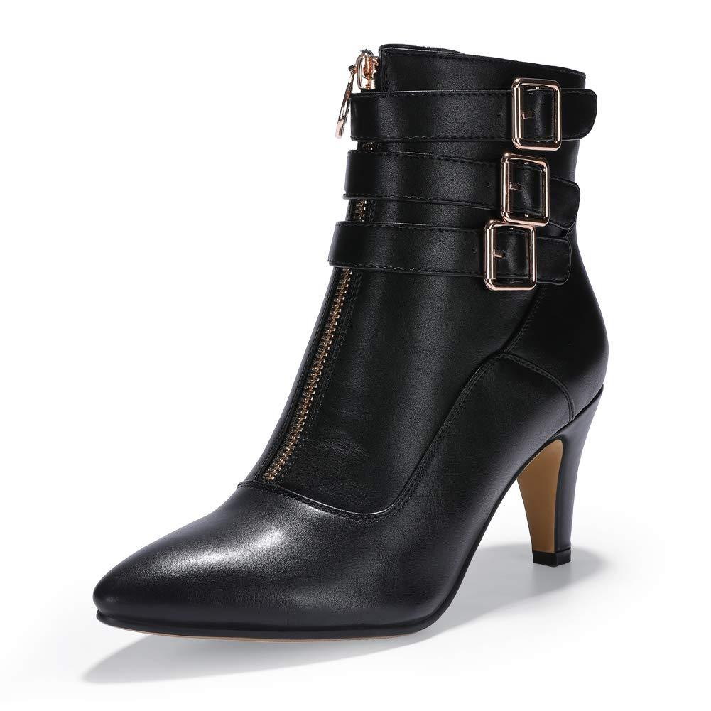 7d7eabea541 IDIFU Women's Amanda-C Pointed Toe Buckle Strap Ankle Booties Medium Chunky  Heel Short Boots with Zipper