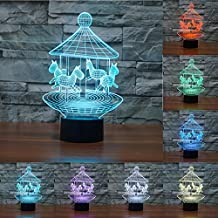 Ancaixin 7 Colors Merry-go-around Discoloration Optical Illusion Lamp Nightlight USB Touch Button LED Desk Table Warm Light