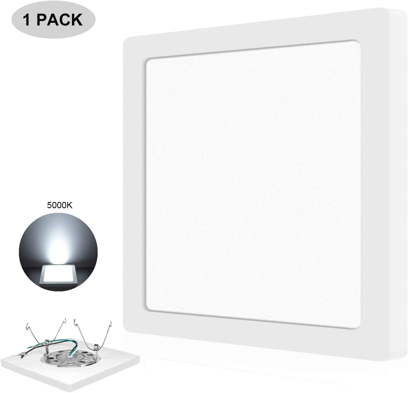 AVANLO 1 Pack 12'' 24W(150W Equivalent) LED Ceiling Light Fixture, Square Light Dimmable, 5000K 1680lm 120V, 3 Easy Installation, for Surface Mount, 3.5-4'' Junction Box, 5-6'' Recessed Can