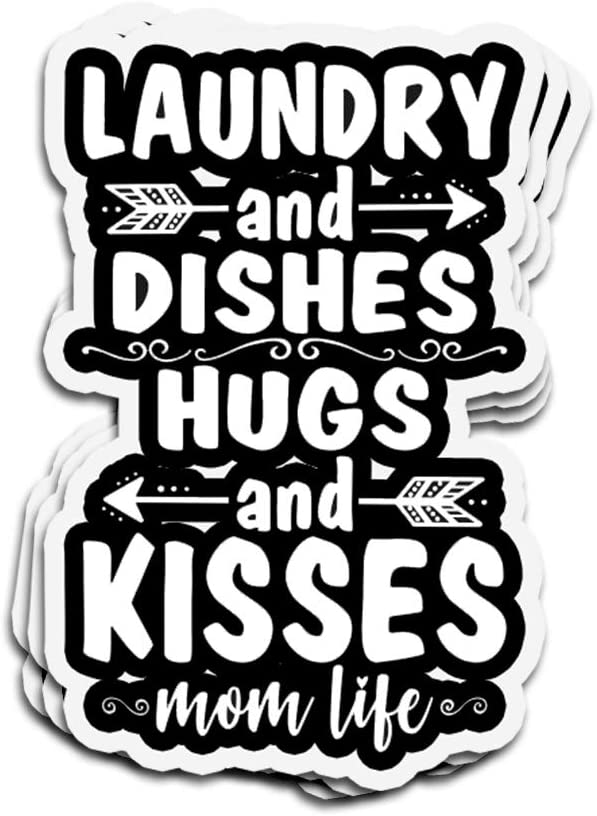 Lucky Star 3 PCs Stickers Laundry and Dishes Hugs and Kisses Mom Life Funny Mothers Day 4 × 3 Inch Die-Cut Wall Decals for Laptop Window