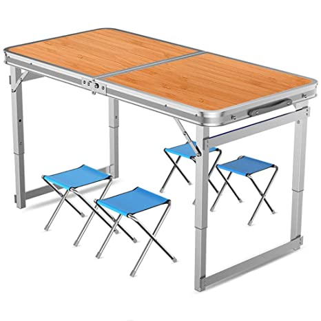 Lw outdoor Mesas de Acampada Mesa Plegable con Juego de sillas ...