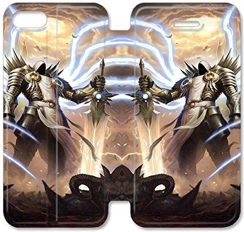 Flip étui en cuir PU Stand pour Coque iPhone 5 5S, bricolage 5 5S étui de téléphone cellulaire en cuir Coque Case Tyrael Diablo C3L3UX Retour Unique Coque iPhone