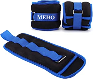 MEHO Ankle Weights, Ankle Weights for Women, Ankle and Wrist Weights for Men, Leg Weights with Adjustable Strap, Fitness, Resistance Training, Running - 1lb to 10lbs Pair