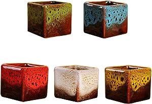 Succulent Plant Pots Ceramic Flower Pots Mini Glazed Square Garden Pots with Drainage for Cactus Flower 5PCS Flower Pot Stand Basket