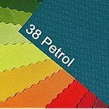 OXFORD 600D Couleur 38 PÉTROLE turquoise Tissu de polyester 1 mètre courant pour dehors, imperméable, extrêmement résistant à la déchirure, robuste, de PVC, marchandise au mètre pour bâche, tente ou sac à dos