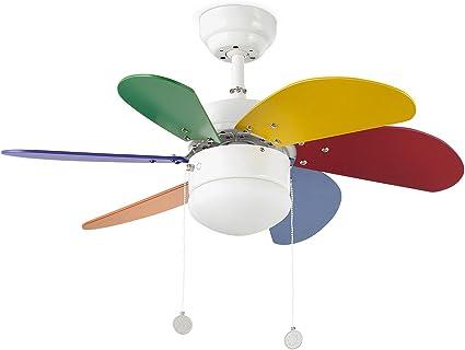 Faro Barcelona 33179 - PALAO Ventilador de techo con luz 6 palas de MDF multicolor, Diámetro 760mm, Accionado por cadena: Amazon.es: Iluminación
