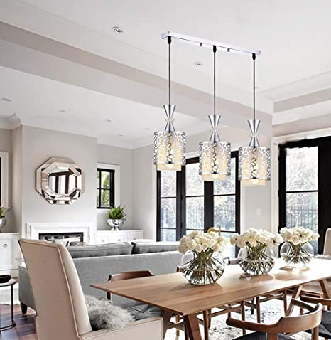 Amazon.com: ZUEN Ceiling Light Modern Crystal I Ron Pendant ...