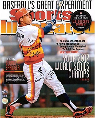 (Jose Altuve, Alex Bregman, George Springer, and Carlos Correa Houston Astros 2017 MLB World Series Champions Autographed 16