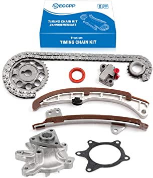 Timing Chain Kit Cover Gasket Set Water and Oil Pump Fits 98-08 Toyota 1.8L DOHC