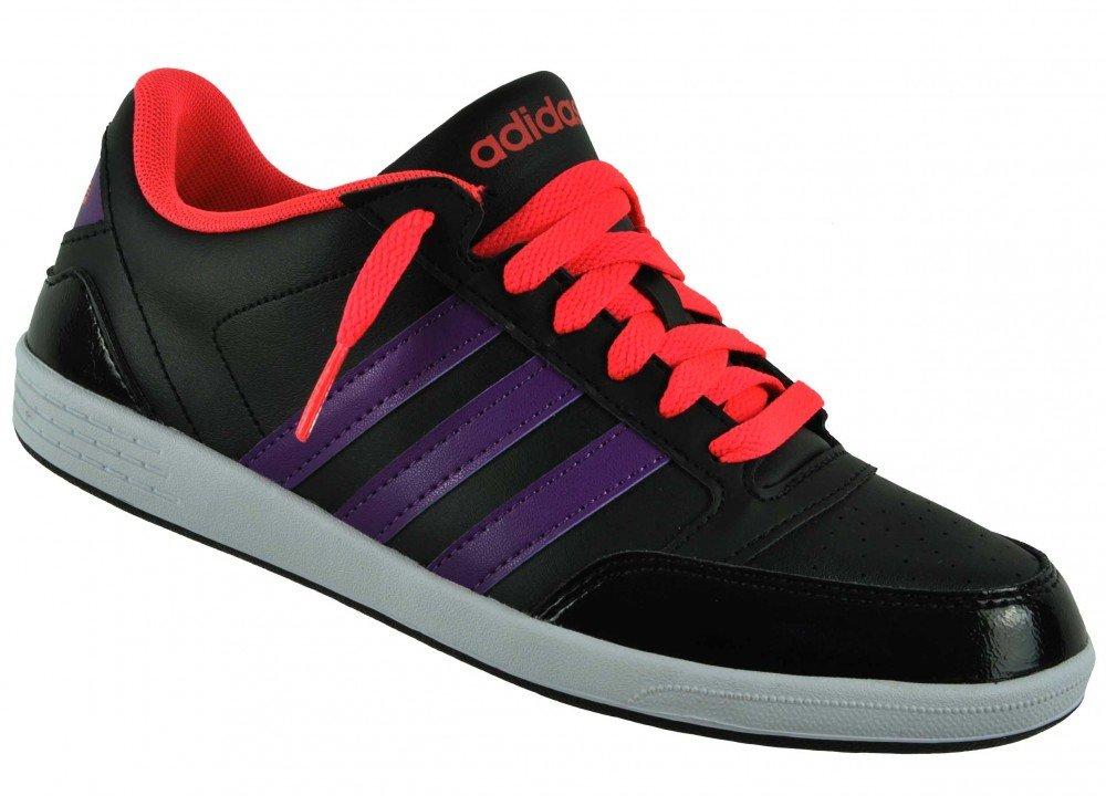 adidas Neo VLNEO HOOPS LO W Schwarz Rosa Lila Damen Sneakers Schuhe Neu  38|Schwarz