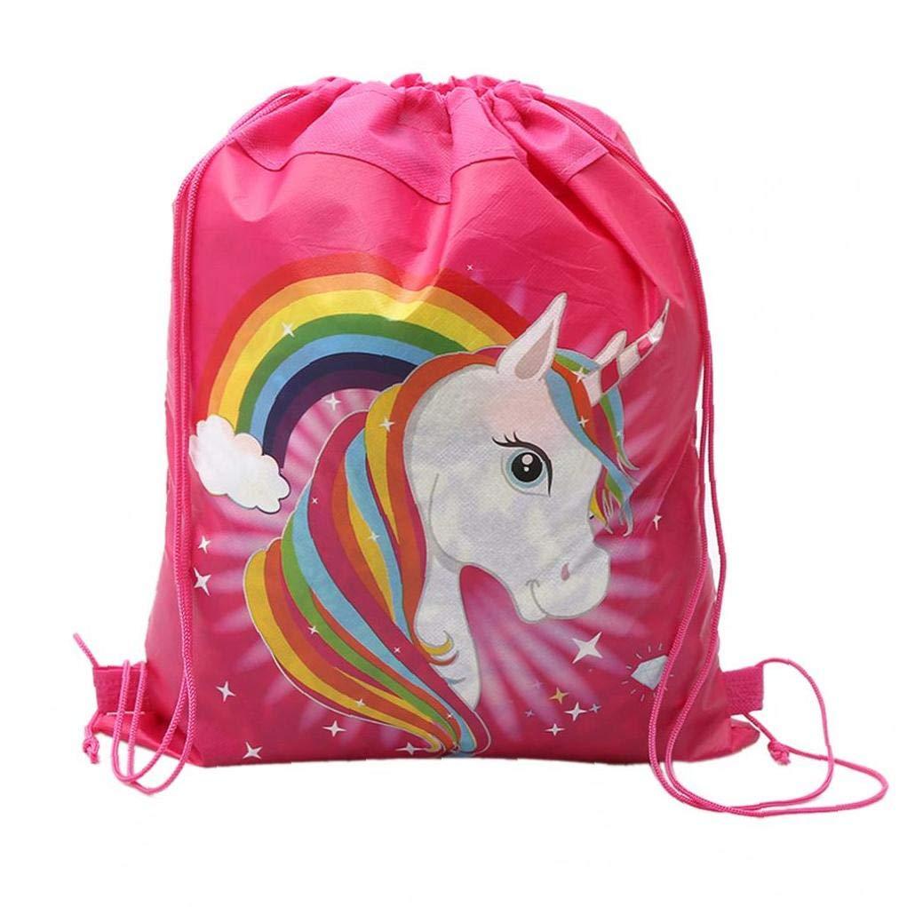 12 Paquete De Unicornio Con Asas Para Los Ni/ños Regalo De Cumplea/ños Fiesta Del Unicornio Bolsa Favores SuppliesTravel De Almacenamiento De Dibujos Animados Mochilas Escolares