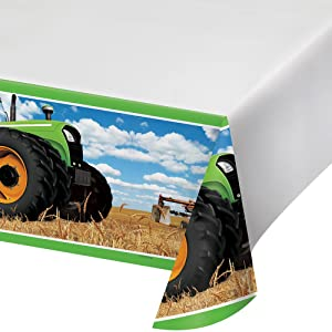 "Creative Converting 318056 Festive Tractor Time Border Print Plastic Tablecover 54"" x 102"" Multicolor"