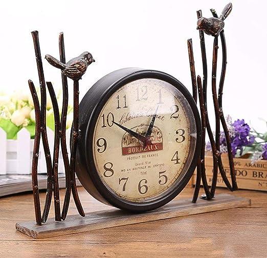 TINERS Retro Reloj De Mesa Artesanía De Hierro Antiguo Metal Reloj ...