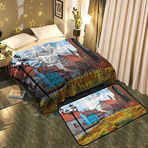 - LOUTAN Super Soft Blanket Floor mat Set Old City Riga L via Capital His rical Build gs Medieval wn Super Soft Hand Feeling Blanket 50