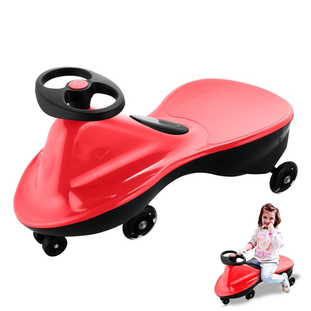 Creine Ride on Wiggle Car Plasma Cars with LED flash wheels, Ride on Toy Rolling Coaster the Wiggling Wiggle Race Car Premium Scooter for Boys and Girls, No Batteries (US STOCK) (Red)