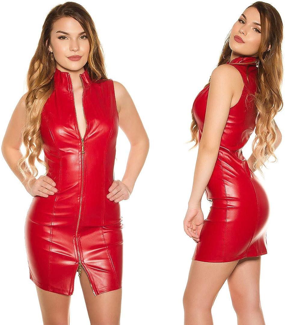 Koucla Kleid Lederlook Minikleid mit 2-Way-Zip