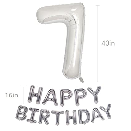 Silver 7th Birthday Balloons Kit Girl Or Boy First Decorations Happy And