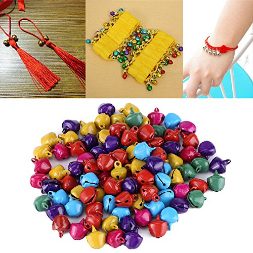 100pcs 10mm Christmas Jingle Bells Small Jingle Bells for DIY Bracelet Anklets Necklace Knitting Jewelry Making Accessories Festival & Party Decorations