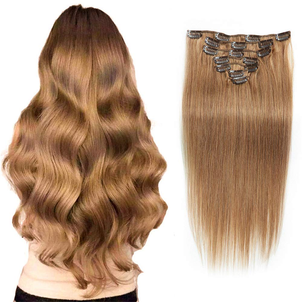 MuKo Clip in Hair Extensions 7Pcs 16 Clips 14-24 Inch Human Hair Thick Straight Full Head Clip in on Double Weft Hair Extensions, Multiple colors are available (16 Inches 70g,#10) by MuKo