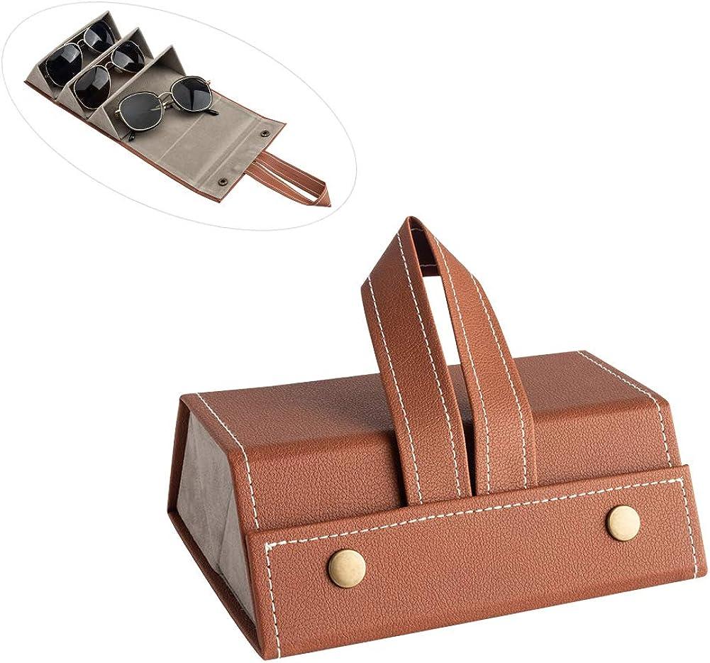 Portable Glasses organizer For Storage /& Display 3 Slots Travel Sunglasses Case