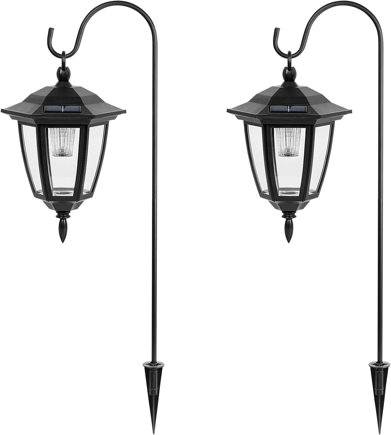 Viewsun 34 Inch Solar Hanging Lights, Shepherd Hook Lights with 2 Shepherd Hooks Weatherproof Outdoor Decorative Solar Lantern Lights for Garden, Backyard, Pathway, 2 Pack