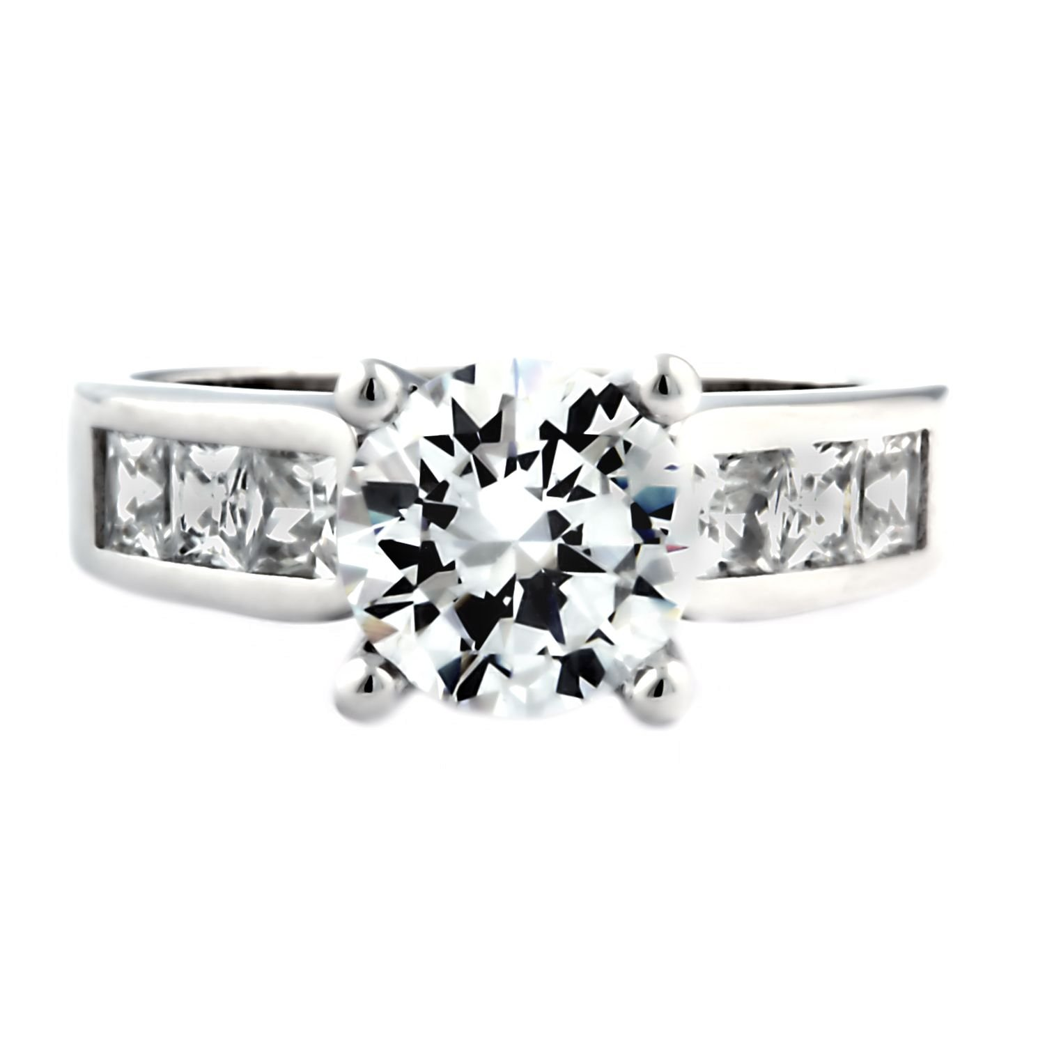 Tallia E80: 3.6ct Brilliant-cut Russian Ice on Fire CZ Engagement Ring 925 Silver, 3146