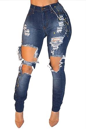 Yacun Femme Taille Haute Jeans Skinny Jeans Slim A Trou  Amazon.fr   Vêtements et accessoires fec1d10488fc