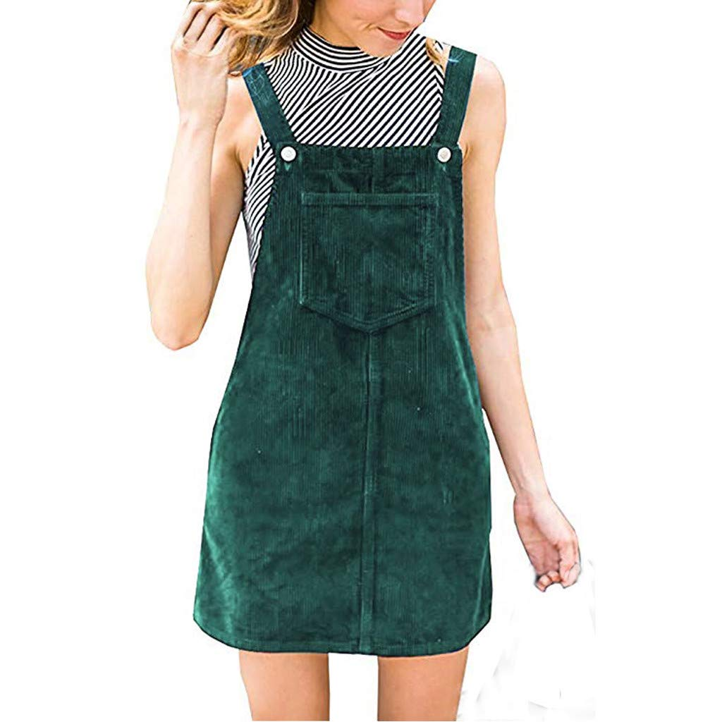 Ulanda Women's Straps A-line Corduroy Suspender Skirt Pinafore Bib Overall Dress with Pocket Green