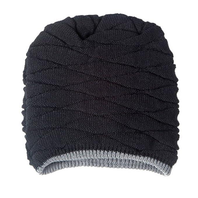 ROSENICE Cappelli invernali uomo Soft foderato spessa maglia Skull Cap  Berretti Slouchy Hat (Navy nero)  Amazon.it  Abbigliamento 96e8c30c176f