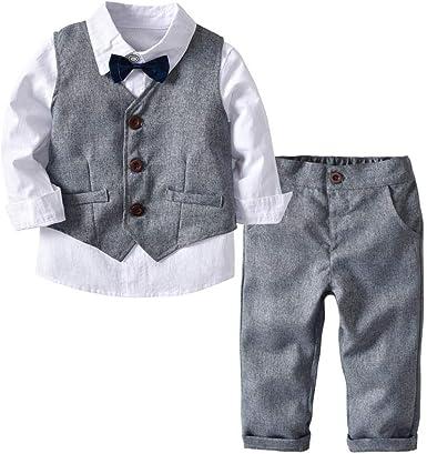 K-youth Conjunto de Cuatro Piezas para Bebé Niño 1-4 Años Ropa Niño y Niña Gentleman Camisa de Manga Larga Bowtie + Chaqueta + Pantalones Traje de Bautizo Fiesta Boda Ceremonia: Amazon.es: Ropa