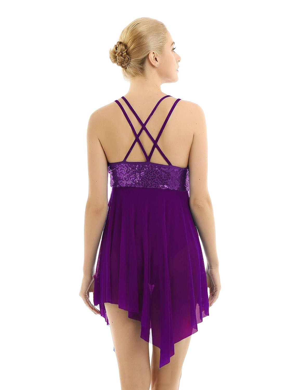 ACSUSS Womens Sleeveless Glitter Sequins Lyrical Dance Leotard Asymmetric Mesh Skirt