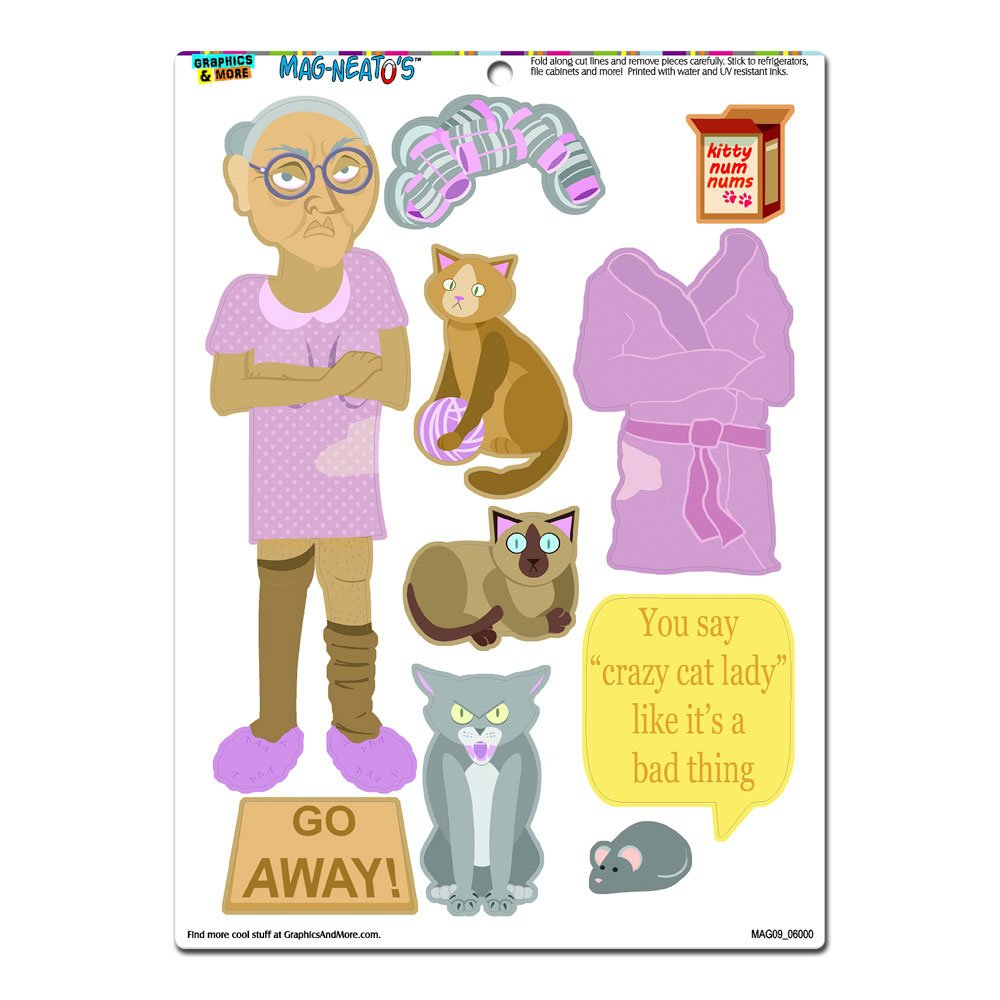 Crazy Cat Lady Dress-Up - Funny Novelty Gift Paper Doll Locker Refrigerator Vinyl Magnet Set