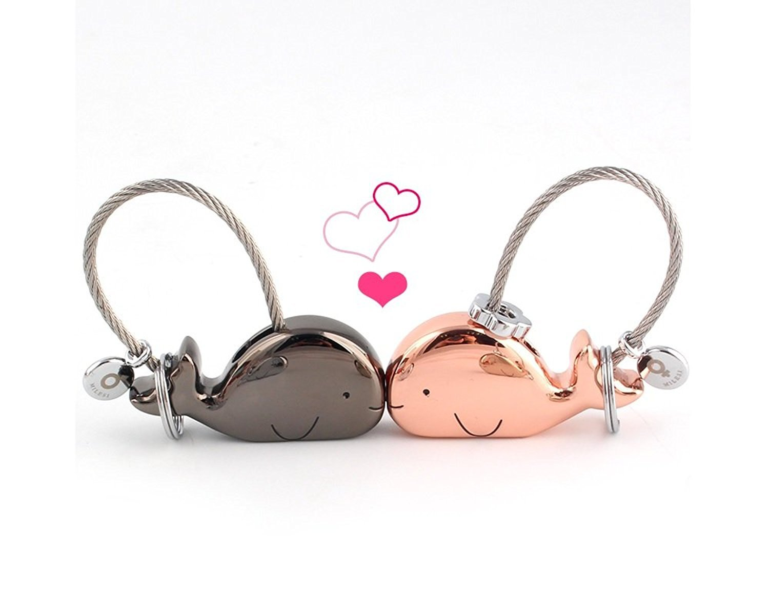 MILESI Sweet Kissing Whale Couple Keychain Valentine's Day Gift Romantic Gift (black rose gold) k0178