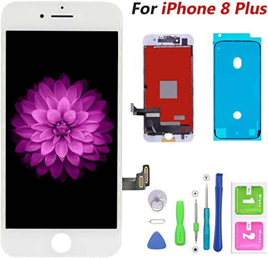 Screen Replacement Compatible for iPhone 8 Black 4.7 Inch LCD 3D Touch Screen Digitizer Frame Assembly with Free Repair Tool Kits Free Screen Protector