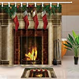 NYMB Christmas Bath Curtain, Tree Fireplace with Xmas Sock for Kids, 69X70in Mildew Resistant Polyester Fabric Shower Curtain Set With 15.7×23.6in Flannel Non-Slip Floor Doormat Bath Rugs