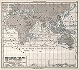 1872 School Atlas | 4. Indischer Ocean. Indian Ocean. | Antique Vintage Map Reprint
