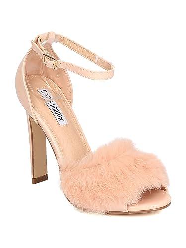 e4a04cda7f3 CAPE ROBBIN Mixed Media Furry Ankle Strap Triangular Heel Sandal GD12 -  Pink (Size