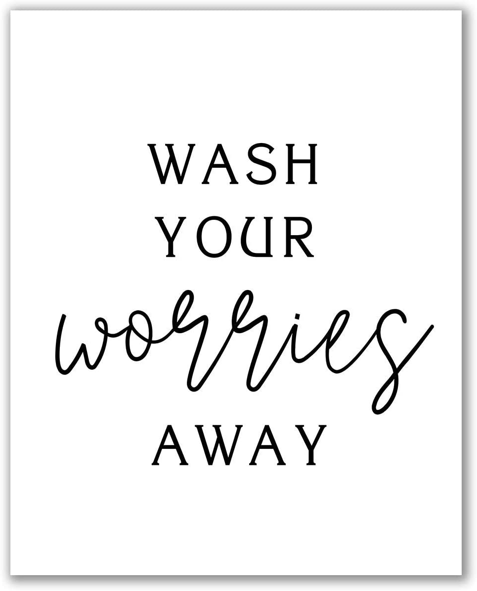 Midoro Wash Your Worries Away Printable Art - Unframed, Bathroom Wall Décor, Bathroom Wall Art, Guest Bathroom Décor, Bathroom Prints, Bath Shower Art (Wash Your Worries Away, 8