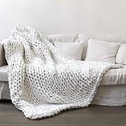 Yijiujiuer Chunky Knit Blanket Giant Throw Merino Wool Yarn Hand Made Bed Sofa Chair Mat (White 24 x24 )