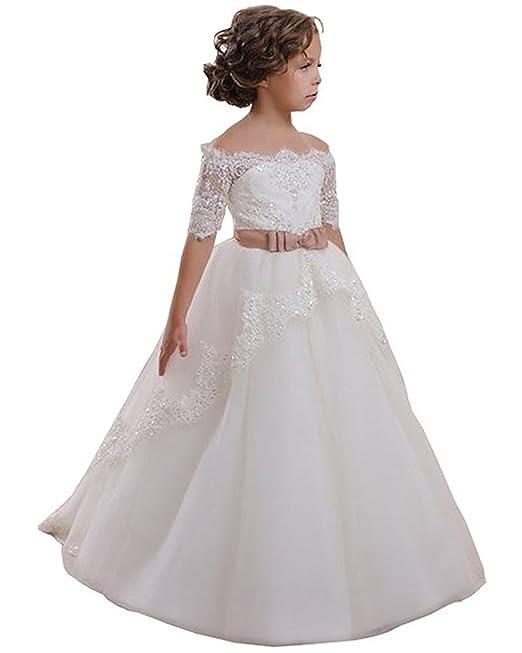 huge discount ff9a1 e5033 VIPbridal Fiore bianco Girl Dress con merletto Appliques vestito della  prima comunione