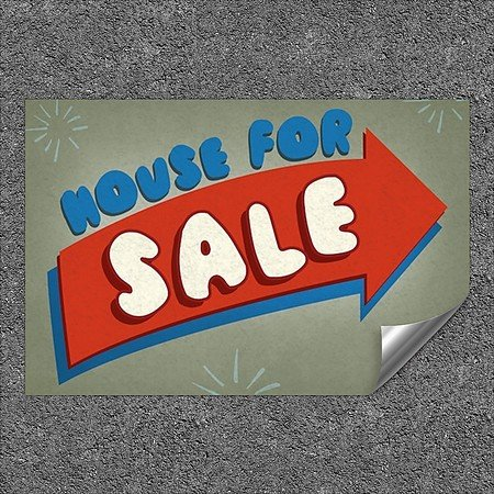 CGSignLab |''House for Sale -Nostalgia Arrow'' Heavy-Duty Industrial Self-Adhesive Aluminum Wall Decal (5-Pack) | 36''x24''