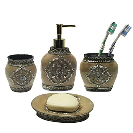 ARG HEALTH CARE Natural Stone Finish Resin 4 Pieces Bathroom Set-Liquid Soap Dispenser, Toothbrush Holder
