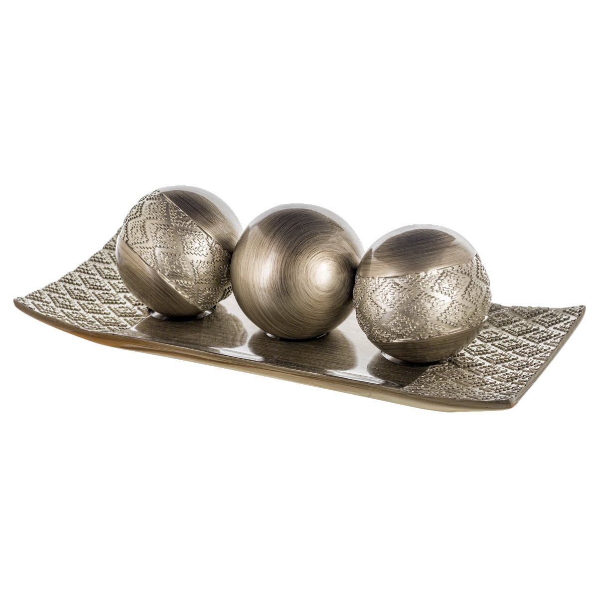 Dublin Decorative Tray and Orbs/Balls Set of 3, Centerpiece Bowl with Balls decorations Matching, Rustic Decorated Spheres Kit for Living Room or Dining/Coffee Table, Gift Boxed (Brushed Silver) by Creative Scents