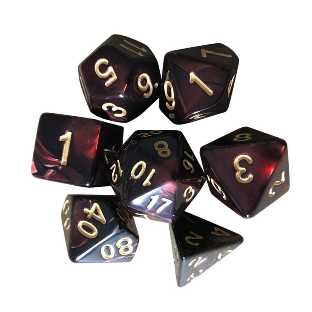 (E) - OVERMAL 7pcs/Set TRPG Game Dungeons & Dragons Polyhedral D4-D20 Multi Sided Acrylic Dice ...  E B078W3SWQL