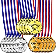 UgyDuky 15-Pack Gold Sliver Bronze Metal Medals with Ribbon, First Second Third Winner Award Medal Prizes for
