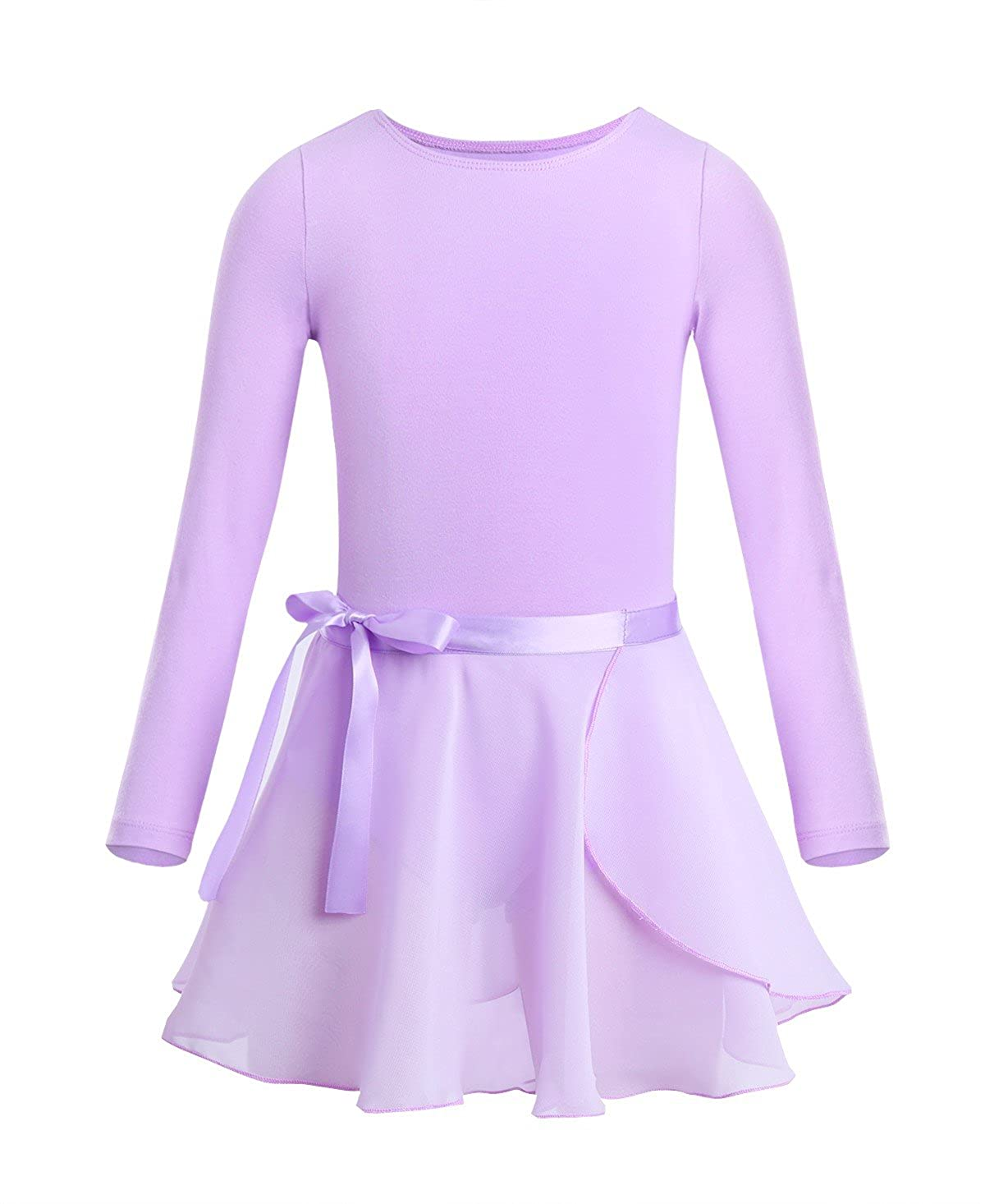 Lavender 10--12 Freebily Girls Team Basic Long Sleeve Leotard with Separate Pro Tight Skirt Dance Ballet Tutu Dress Outfit
