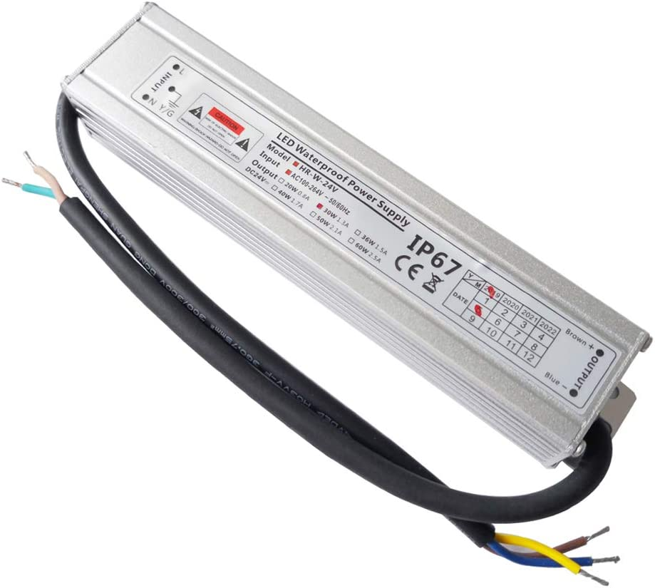 VARICART Activador Resistente al Agua LED IP67 24V 1,25A 30W, Ultra Fino Universal Potencia Conmutable AC DC, Transformador de Voltaje Constante Adaptador para CCTV G4 MR16 GU5.3 Bombilla (Pack de 1)
