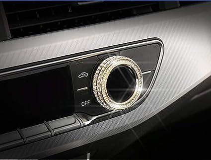 YUWATON Car Interior Bling Accessories for Audi A4 A4L A5 Air Conditioner knob 3D Rhinestone Decals Ring Car Bling Accessories for Women Silver