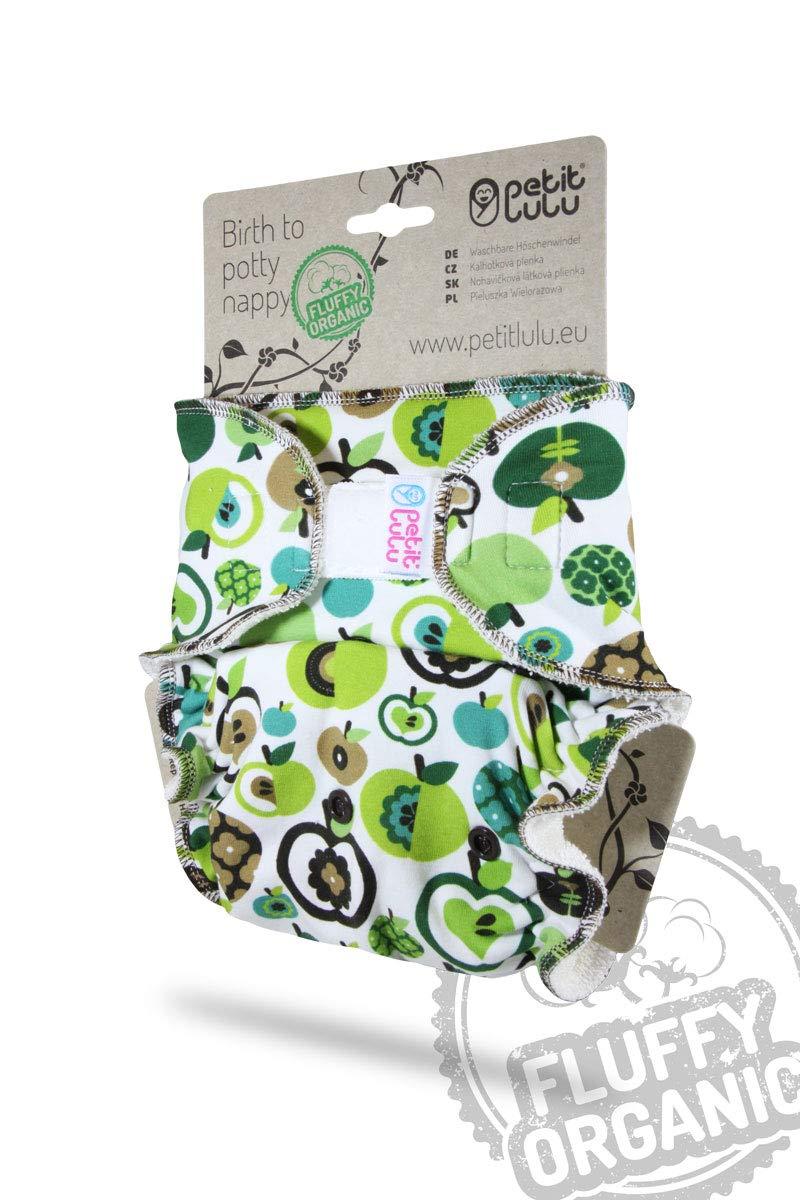 Pa/ñales de Tela green Reutilizable y Lavable Pa/ñal de Bamb/ú Petit Lulu Ajustado Nocturno Maxi Night XL 7-16kg Apples Fabricado en Europa Org/ánico Esponjoso